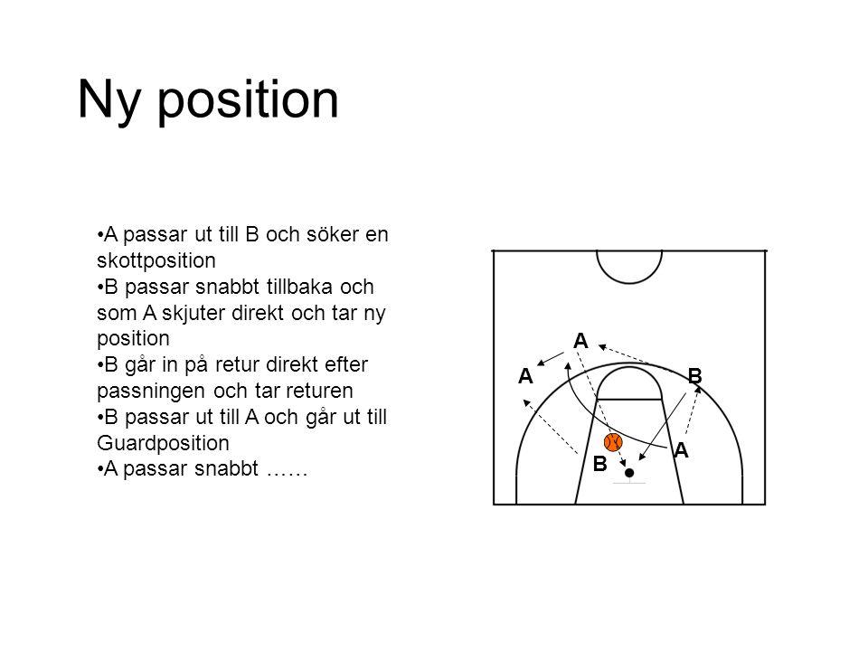 Ny position A passar ut till B och söker en skottposition