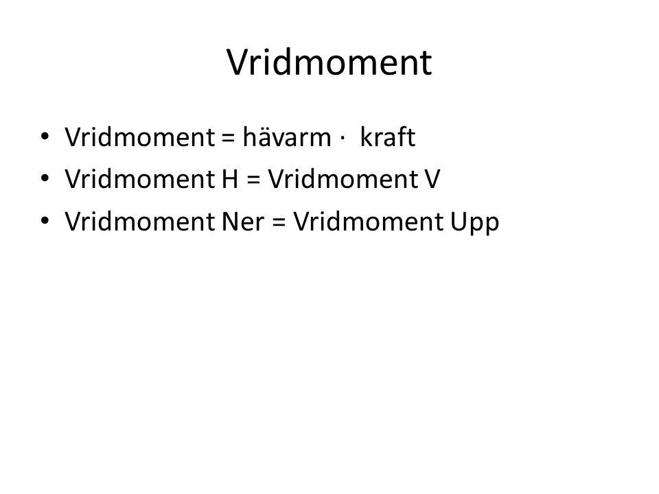 Vridmoment Vridmoment = hävarm · kraft Vridmoment H = Vridmoment V