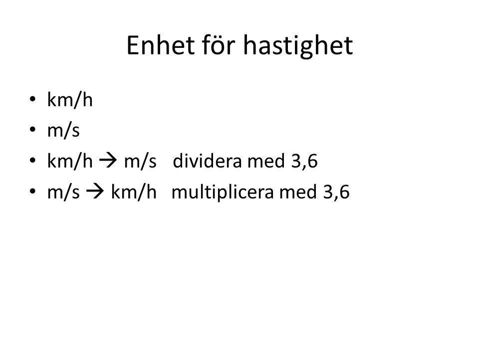 Enhet för hastighet km/h m/s km/h  m/s dividera med 3,6