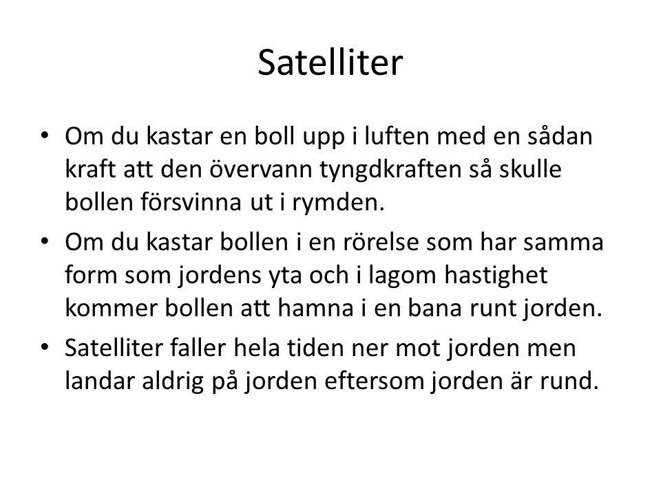 Satelliter Om du kastar en boll upp i luften med en sådan kraft att den övervann tyngdkraften så skulle bollen försvinna ut i rymden.
