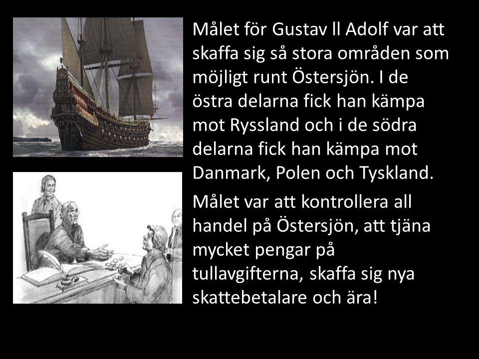 Målet för Gustav ll Adolf var att skaffa sig så stora områden som möjligt runt Östersjön. I de östra delarna fick han kämpa mot Ryssland och i de södra delarna fick han kämpa mot Danmark, Polen och Tyskland.