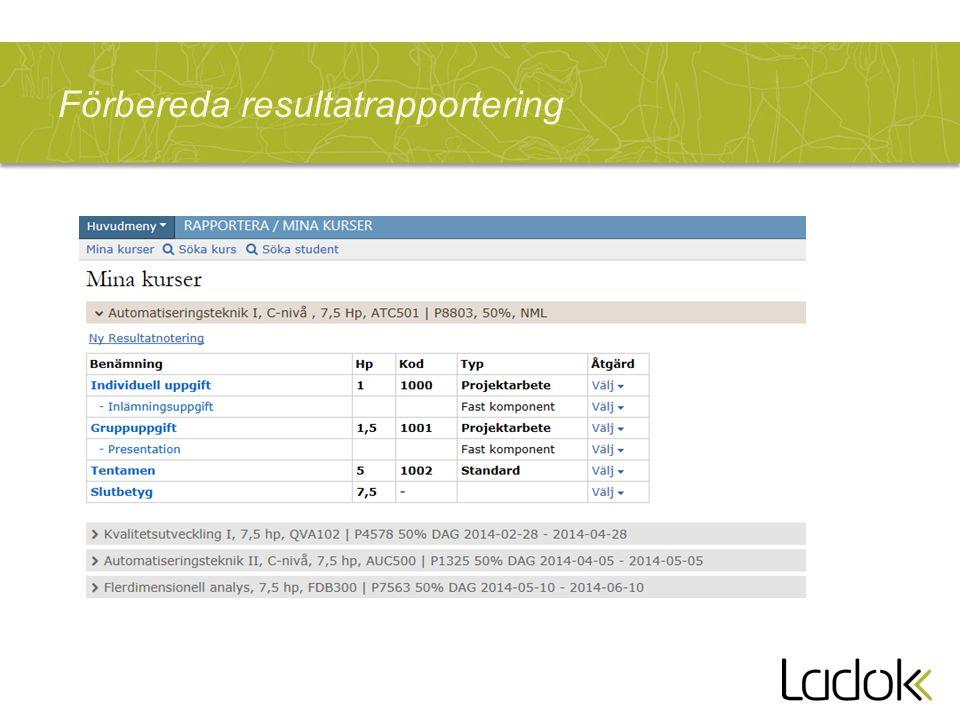 Förbereda resultatrapportering