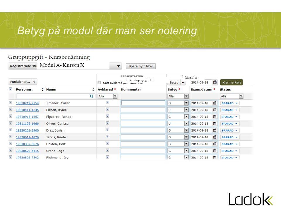 Betyg på modul där man ser notering