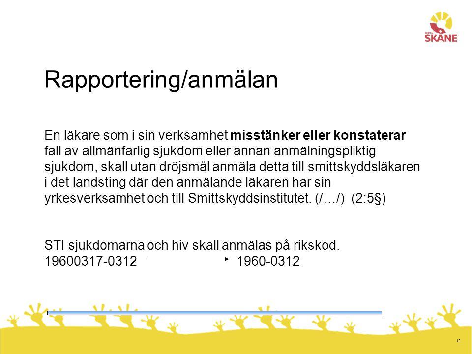 Rapportering/anmälan