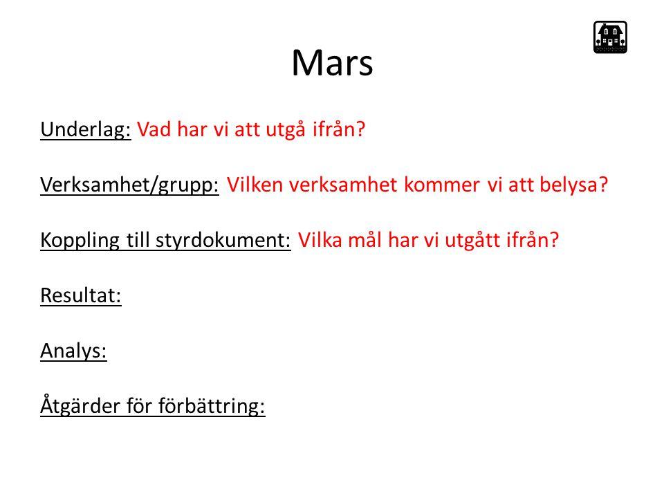 Mars Underlag: Vad har vi att utgå ifrån