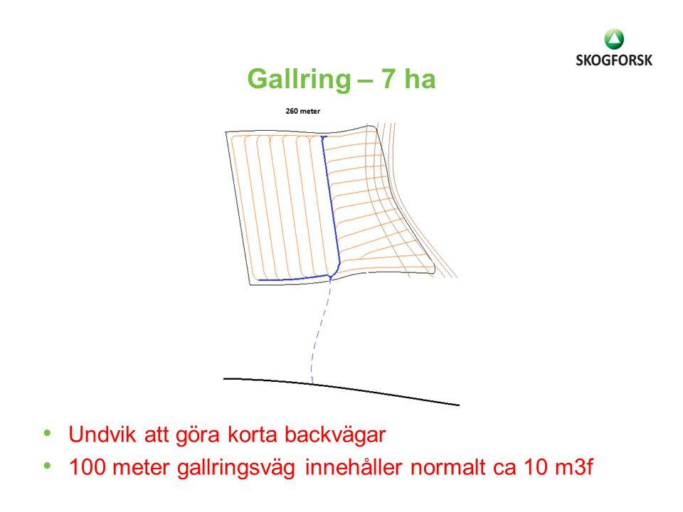 Gallring – 7 ha Undvik att göra korta backvägar