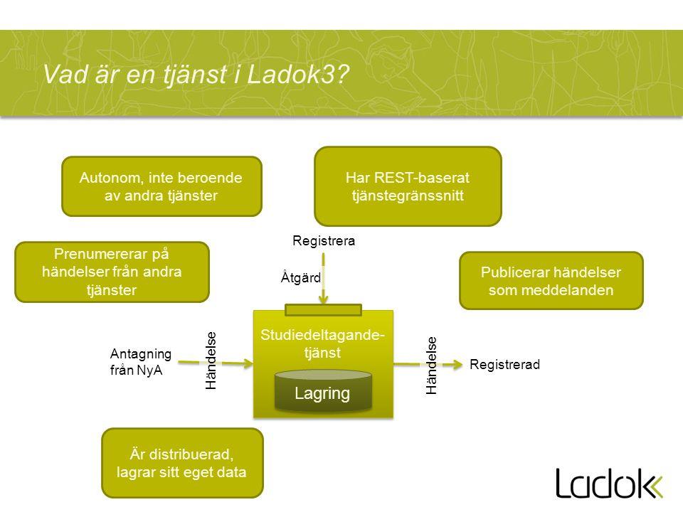 Vad är en tjänst i Ladok3 Lagring Har REST-baserat tjänstegränssnitt