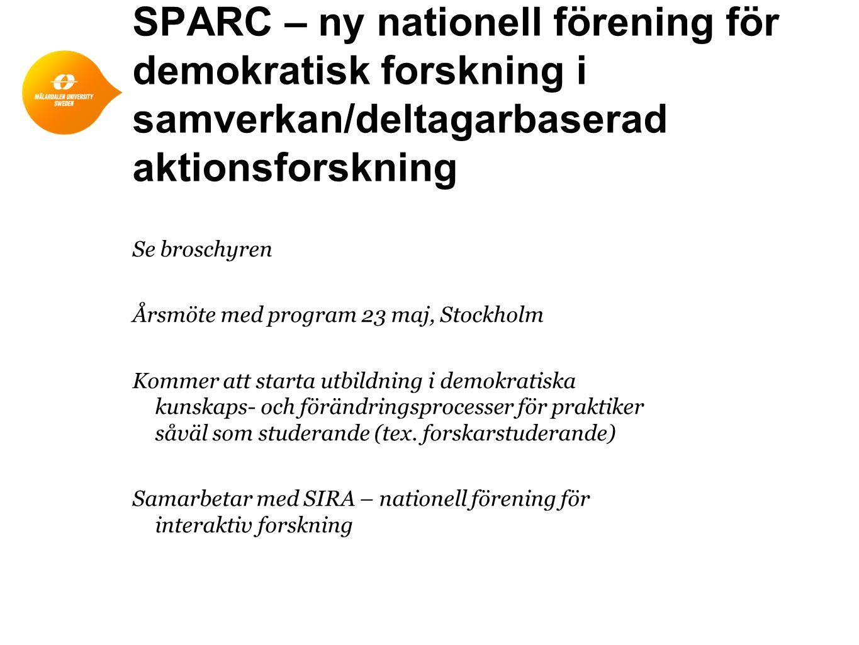 SPARC – ny nationell förening för demokratisk forskning i samverkan/deltagarbaserad aktionsforskning