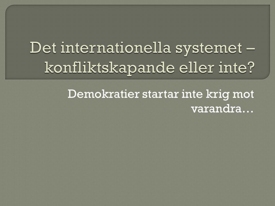 Det internationella systemet – konfliktskapande eller inte
