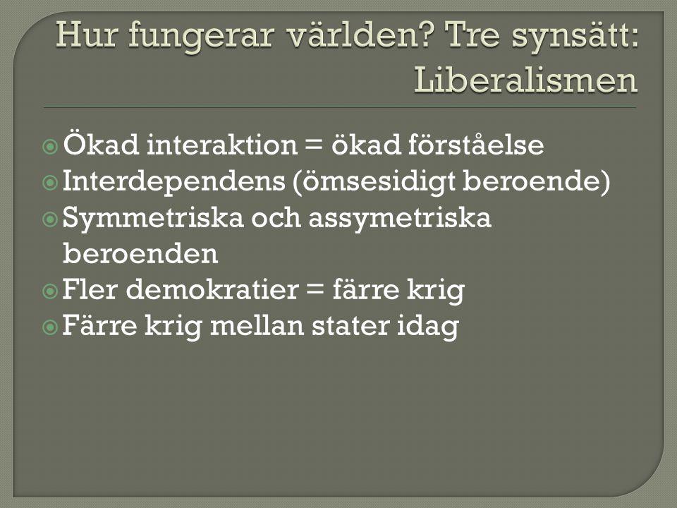 Hur fungerar världen Tre synsätt: Liberalismen