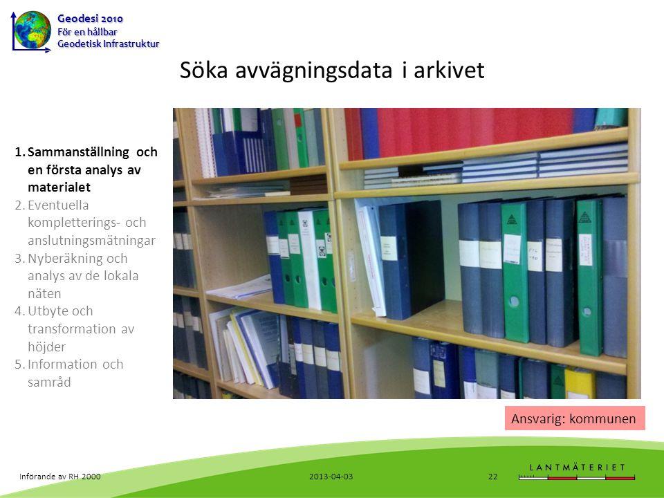Söka avvägningsdata i arkivet