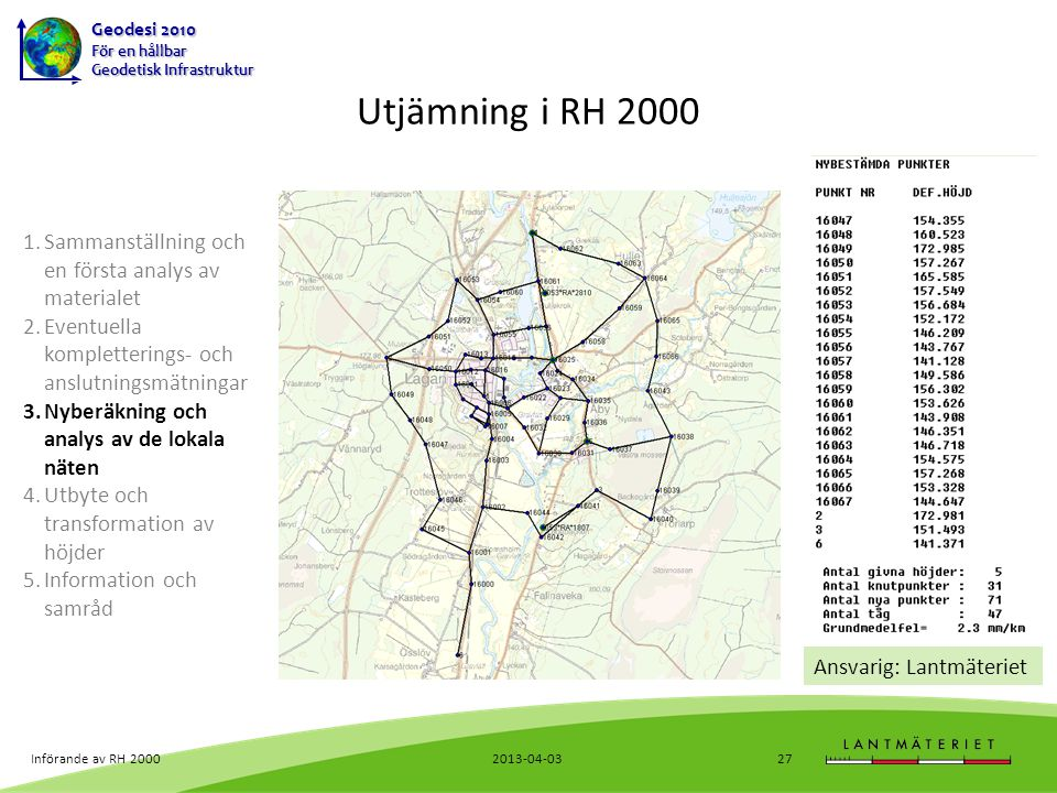 Utjämning i RH 2000 Sammanställning och en första analys av materialet