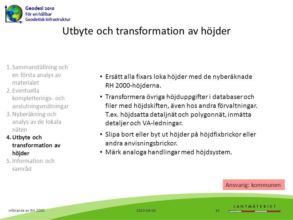 Utbyte och transformation av höjder