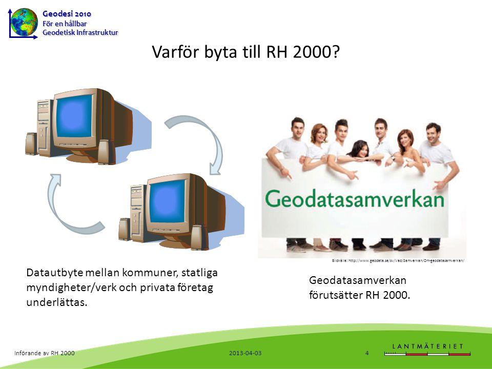 Varför byta till RH 2000 Bildkälla: http://www.geodata.se/sv/Vad/Samverkan/Om-geodatasamverkan/