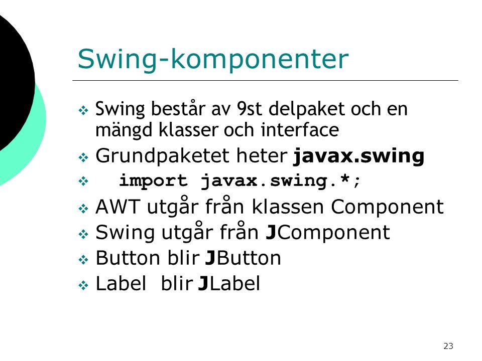 Swing-komponenter Swing består av 9st delpaket och en mängd klasser och interface. Grundpaketet heter javax.swing.