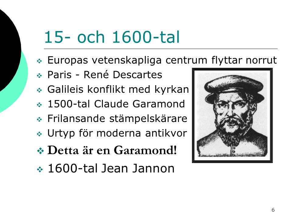 15- och 1600-tal Detta är en Garamond! 1600-tal Jean Jannon