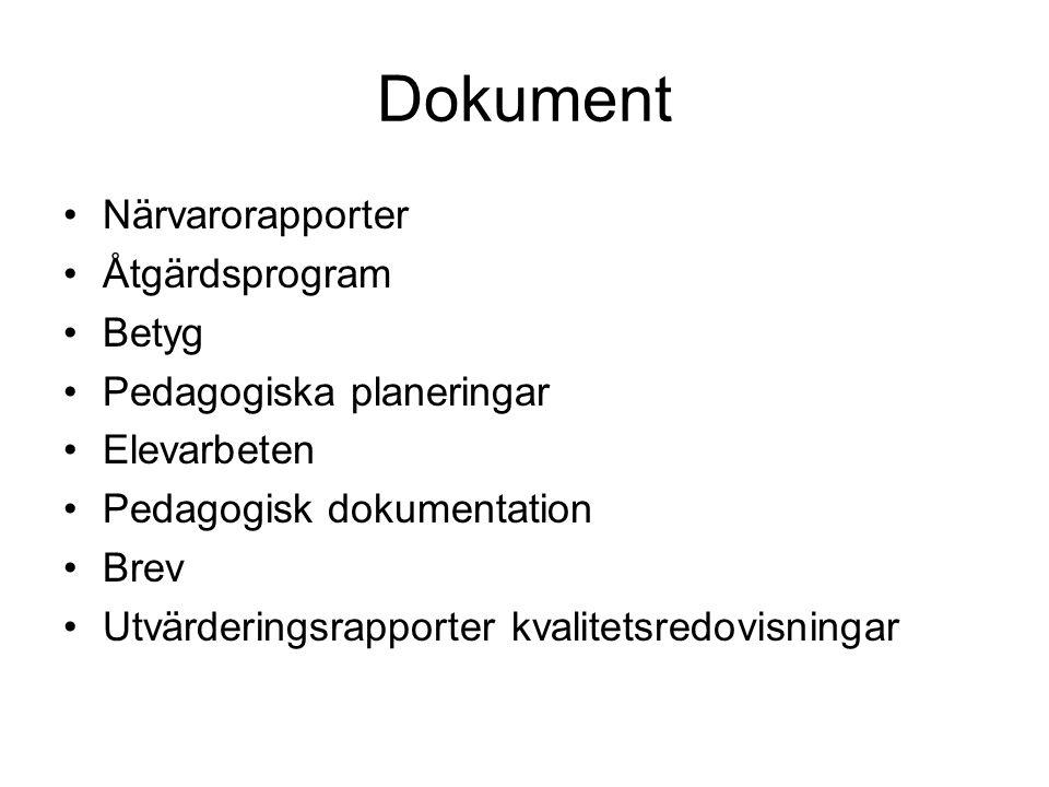 Dokument Närvarorapporter Åtgärdsprogram Betyg Pedagogiska planeringar