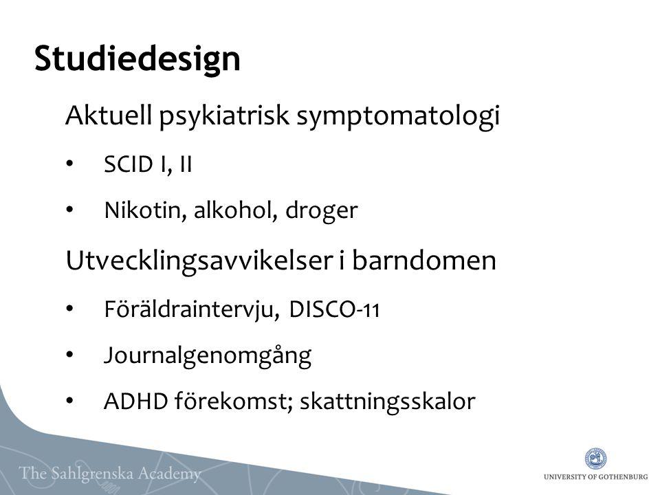 Studiedesign Aktuell psykiatrisk symptomatologi