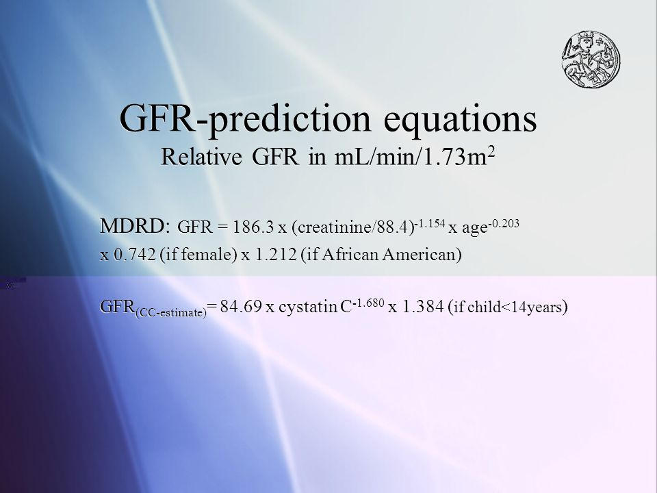 GFR-prediction equations Relative GFR in mL/min/1.73m2