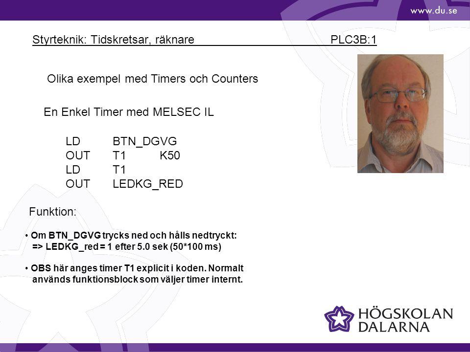 Styrteknik: Tidskretsar, räknare PLC3B:1