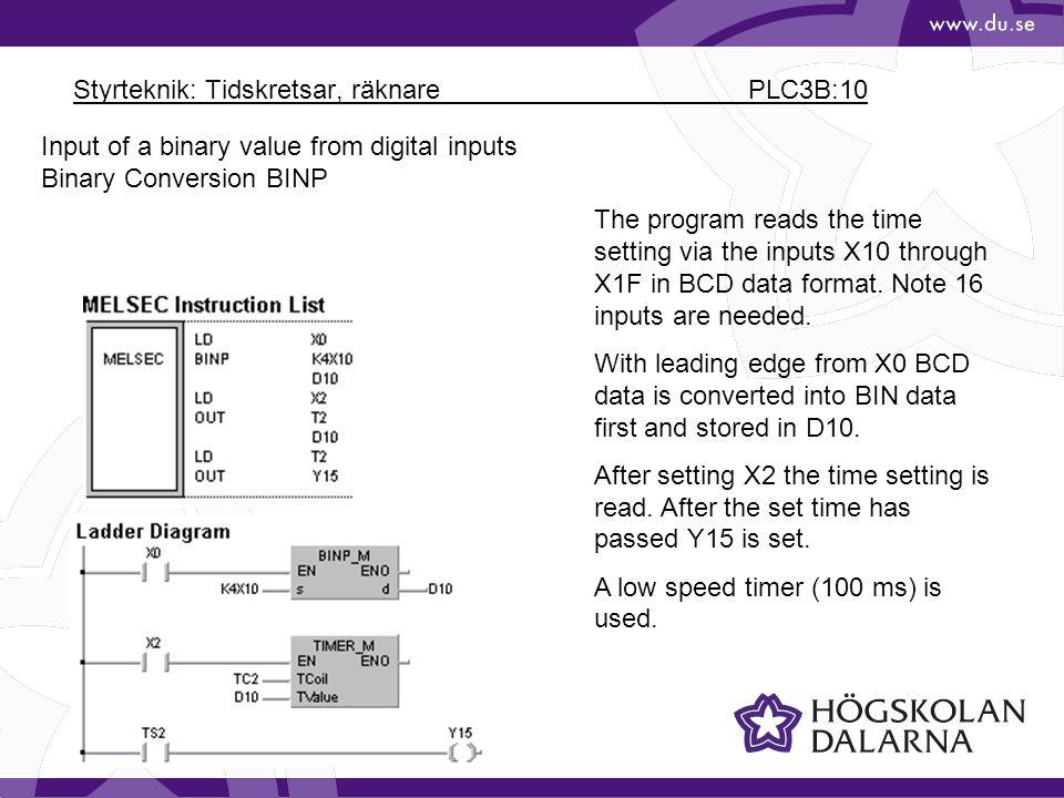 Styrteknik: Tidskretsar, räknare PLC3B:10