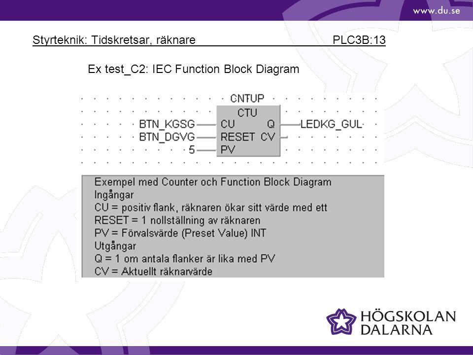 Styrteknik: Tidskretsar, räknare PLC3B:13