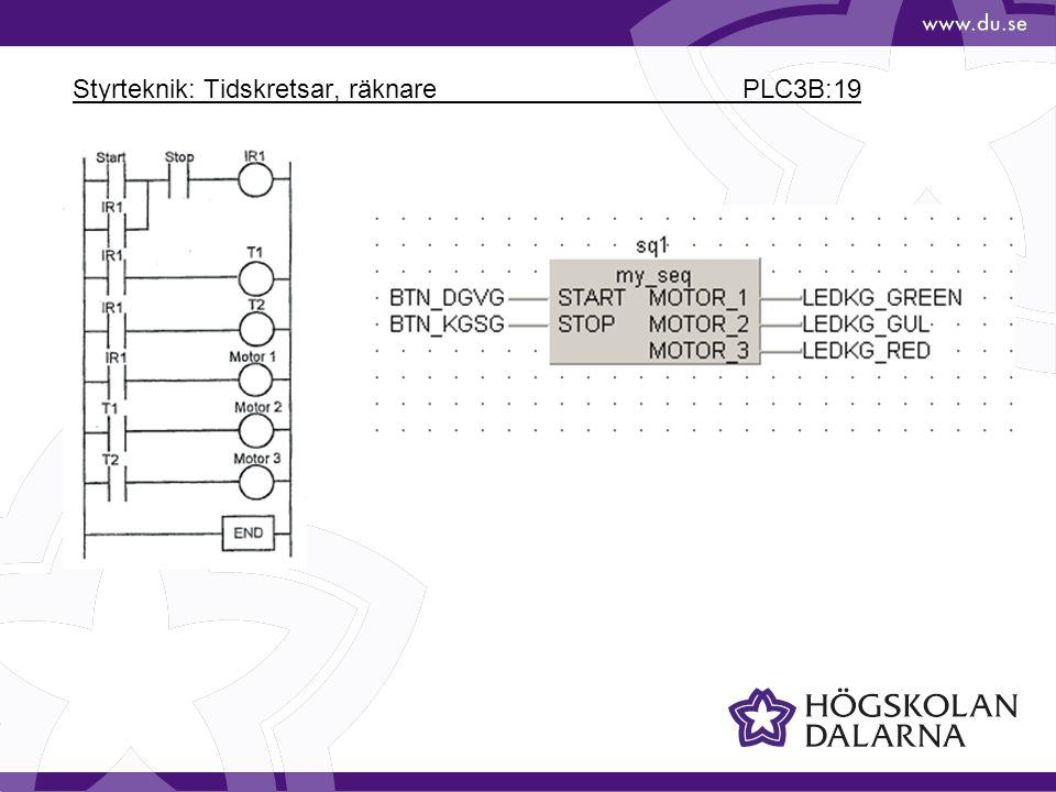 Styrteknik: Tidskretsar, räknare PLC3B:19