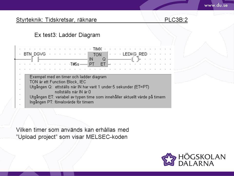 Styrteknik: Tidskretsar, räknare PLC3B:2