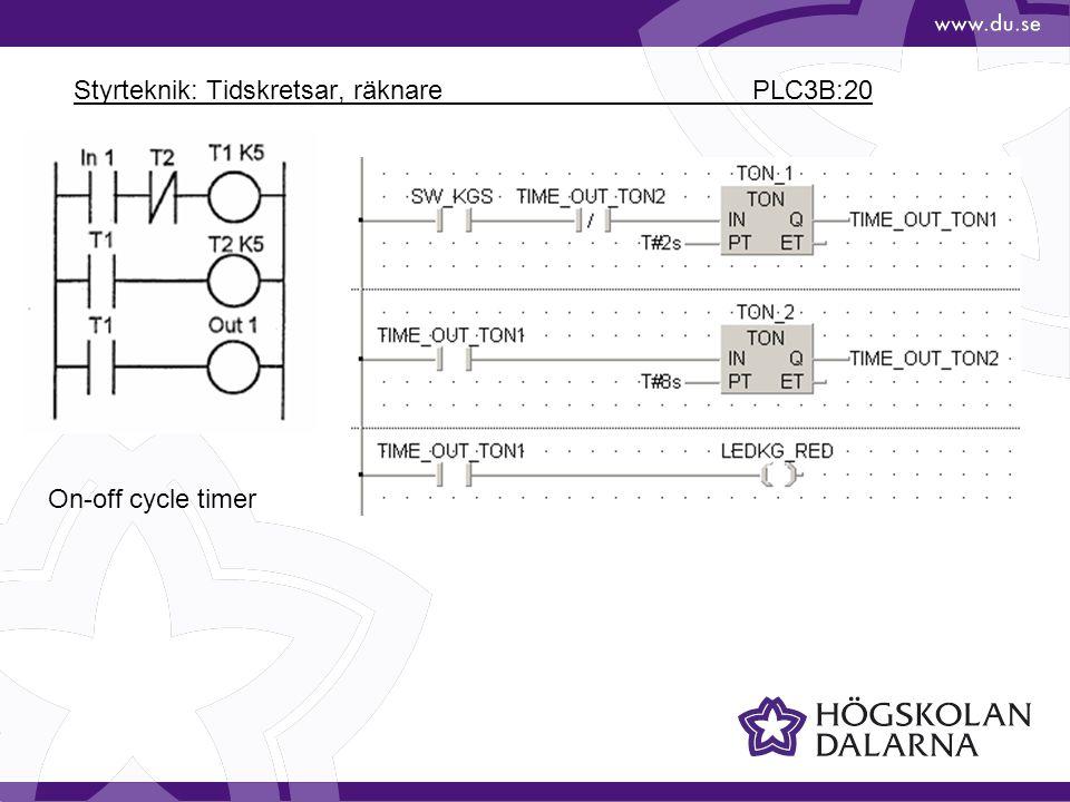 Styrteknik: Tidskretsar, räknare PLC3B:20
