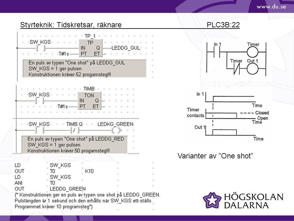 Styrteknik: Tidskretsar, räknare PLC3B:22