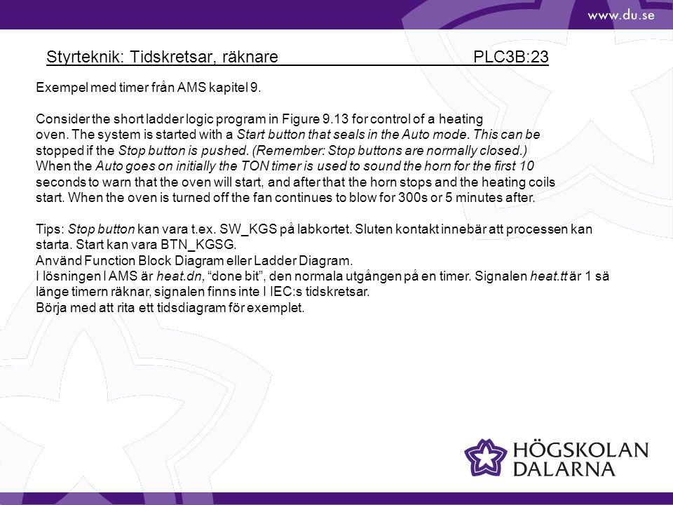 Styrteknik: Tidskretsar, räknare PLC3B:23