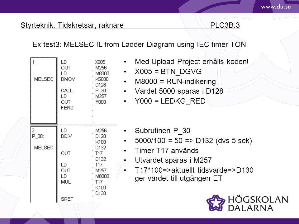 Styrteknik: Tidskretsar, räknare PLC3B:3