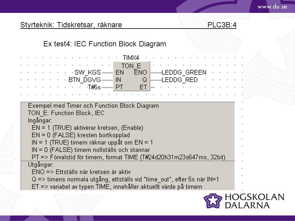 Styrteknik: Tidskretsar, räknare PLC3B:4