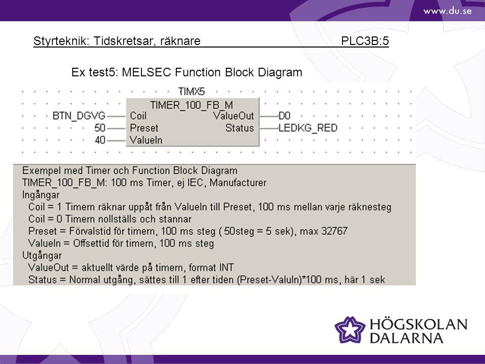 Styrteknik: Tidskretsar, räknare PLC3B:5