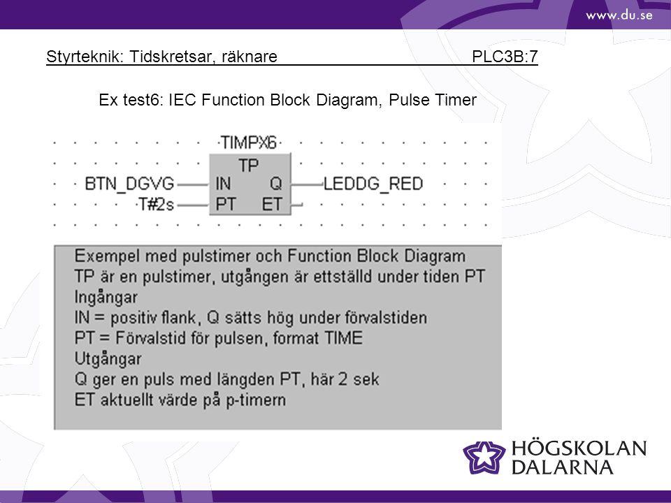 Styrteknik: Tidskretsar, räknare PLC3B:7