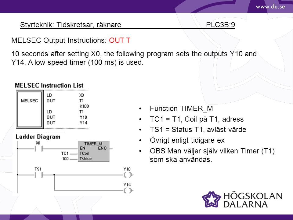 Styrteknik: Tidskretsar, räknare PLC3B:9