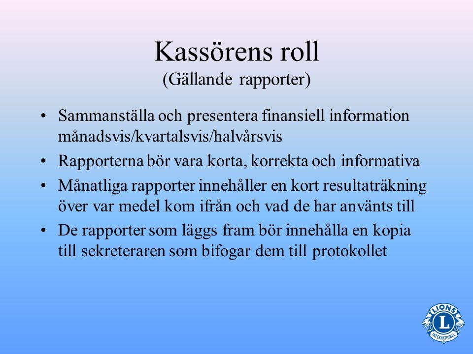 Kassörens roll (Gällande rapporter)