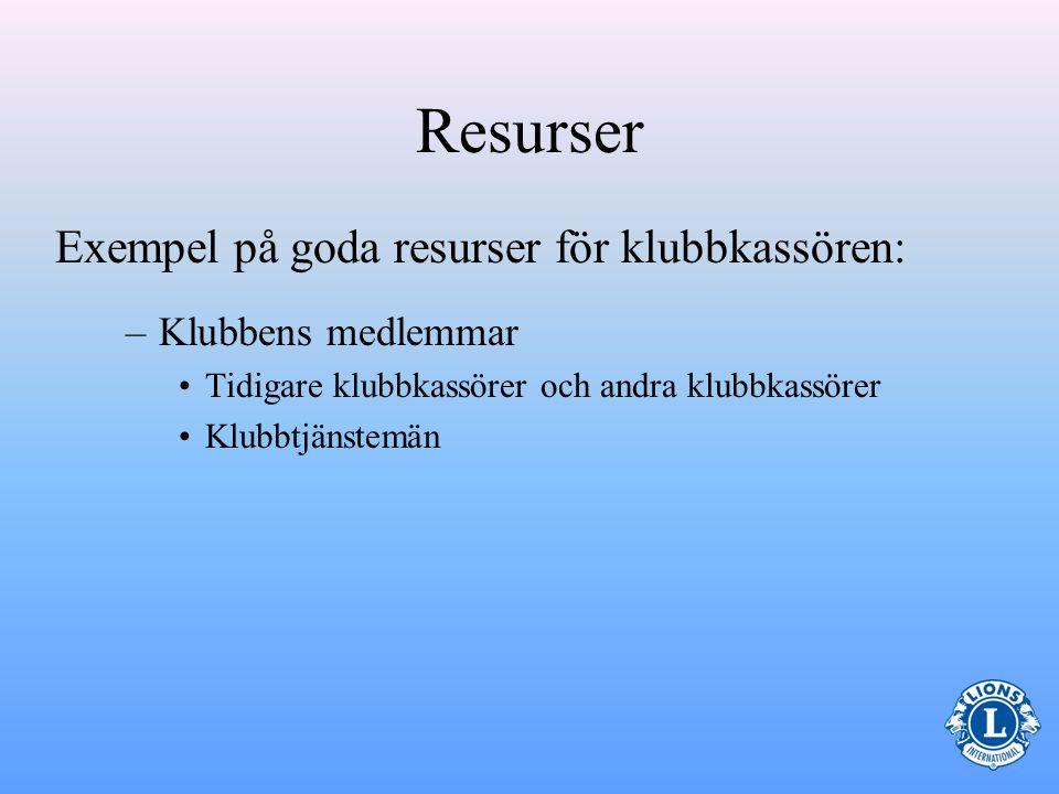 Resurser Exempel på goda resurser för klubbkassören: