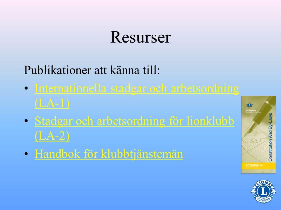 Resurser Publikationer att känna till: