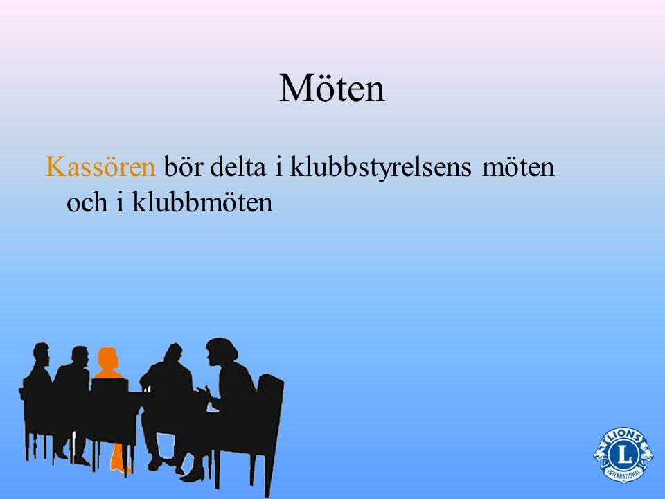 Möten Kassören bör delta i klubbstyrelsens möten och i klubbmöten 16