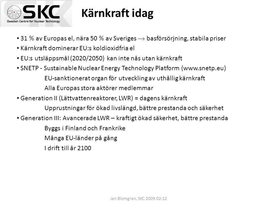 Kärnkraft idag 31 % av Europas el, nära 50 % av Sveriges  basförsörjning, stabila priser. Kärnkraft dominerar EU:s koldioxidfria el.
