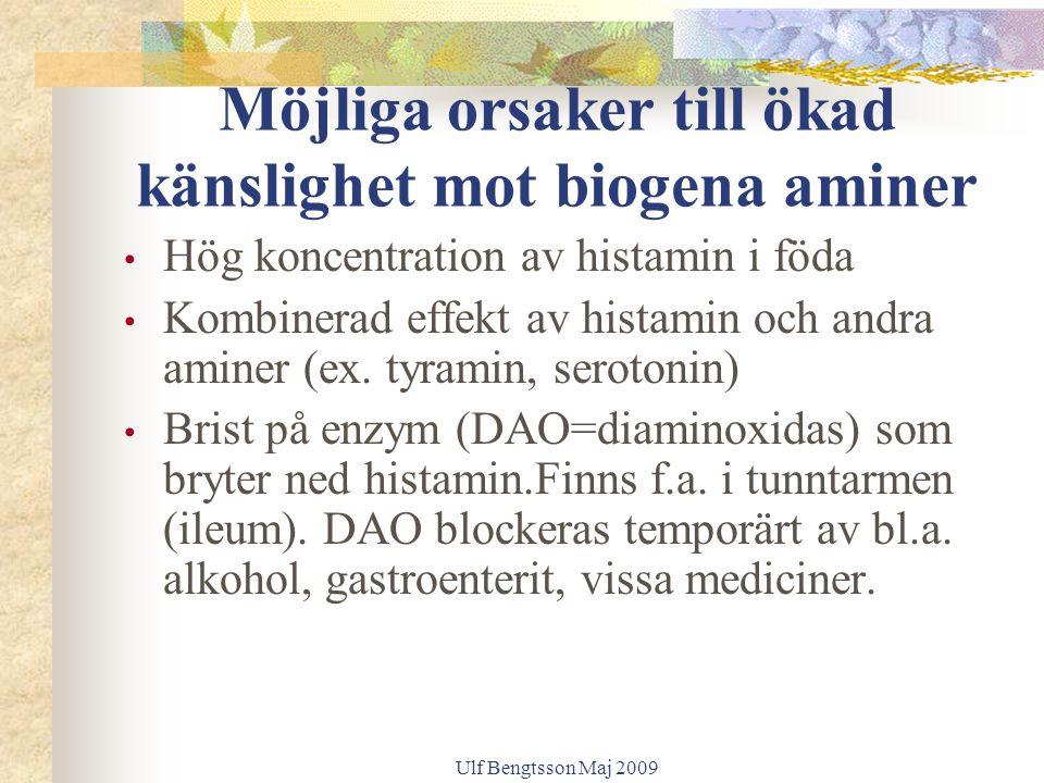Möjliga orsaker till ökad känslighet mot biogena aminer