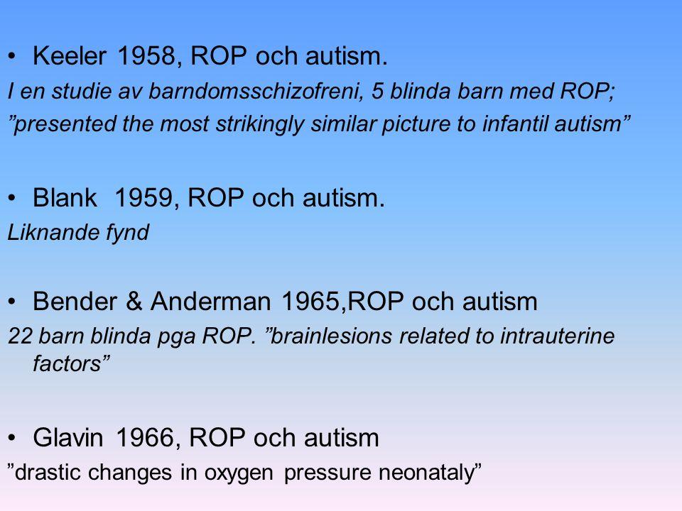 Bender & Anderman 1965,ROP och autism
