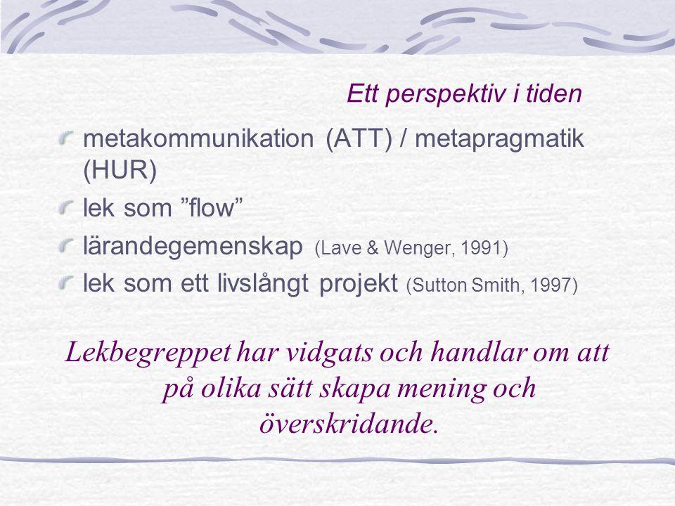 Ett perspektiv i tiden metakommunikation (ATT) / metapragmatik (HUR) lek som flow lärandegemenskap (Lave & Wenger, 1991)