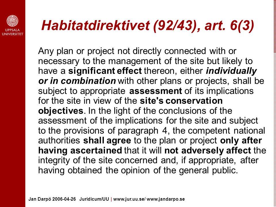 Habitatdirektivet (92/43), art. 6(3)