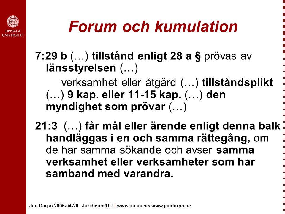 Forum och kumulation 7:29 b (…) tillstånd enligt 28 a § prövas av länsstyrelsen (…)