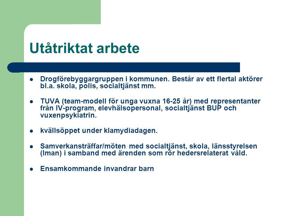 Utåtriktat arbete Drogförebyggargruppen i kommunen. Består av ett flertal aktörer bl.a. skola, polis, socialtjänst mm.