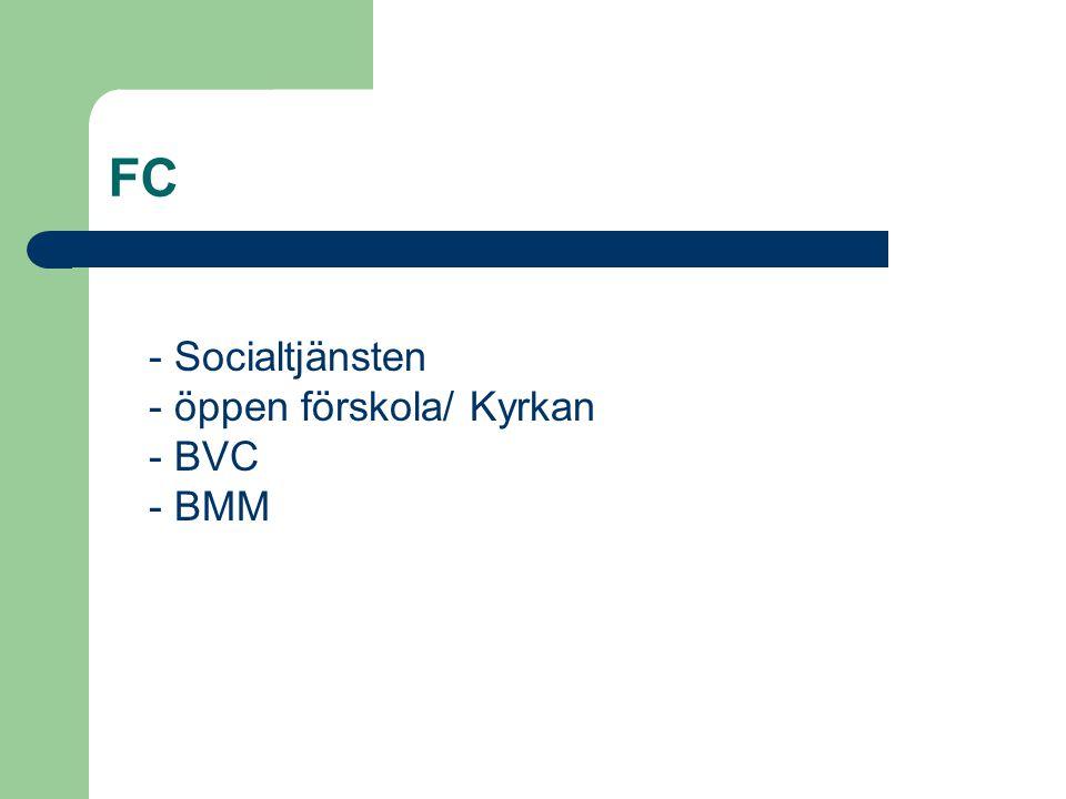 FC - Socialtjänsten - öppen förskola/ Kyrkan - BVC - BMM