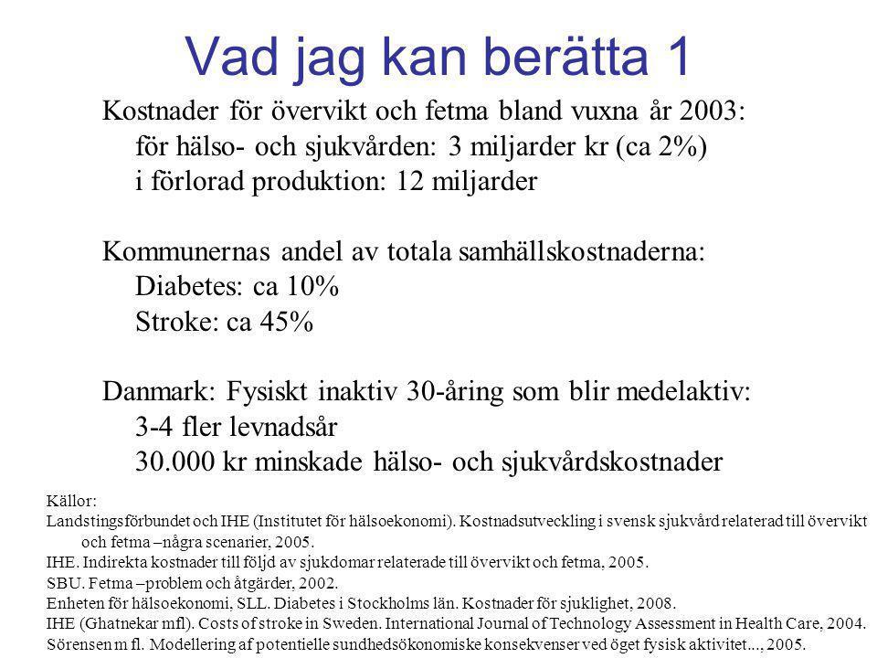 Vad jag kan berätta 1 Kostnader för övervikt och fetma bland vuxna år 2003: för hälso- och sjukvården: 3 miljarder kr (ca 2%)