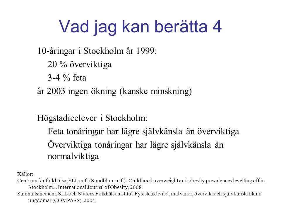 Vad jag kan berätta 4 10-åringar i Stockholm år 1999: 20 % överviktiga